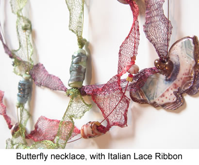 Butterfly necklaces with Italian mesh ribbon.